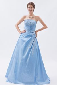 Hot Sale Baby Blue Strapless Floor-length Formal Prom Dress with Appliques