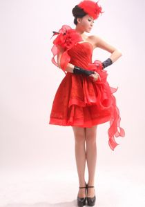 Luxurious Red One Shoulder Mini-length Formal Prom Dresses with Flowers