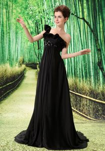 Elegant Black Watteau Single Shoulder Formal Prom Dresses with Embroidery