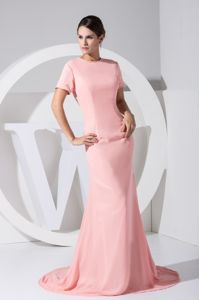 Pink Round Neck Short Sleeves Brush Train Prom Dresses with Cool Back
