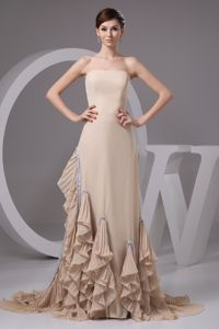 Special Strapless Pleated Brush Train Formal Prom Dresses in Wheat Color