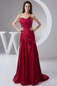 Special Wine Red Strapless Ruched Brush Train Formal Prom Dress in Barry