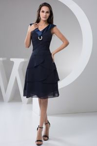Unique Navy Blue V-neck Knee-length Dresses for Formal Prom with Layers