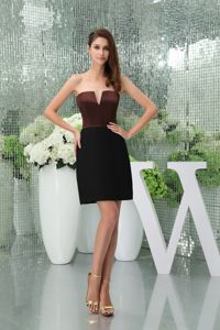 Special Slot Neck Black and Brown Short Formal Prom Dresses with Cutout