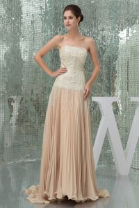 Strapless Champagne Sequin Pleated Brush Train Prom Gown Dress in Boise