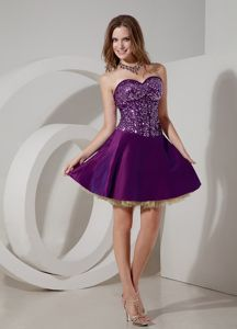 Lovely Purple Sweetheart Mini-length Semi-formal Prom Dress with Beading