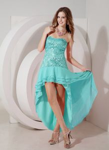 New Arrival Strapless High-low Dress for Formal Prom in Aqua Blue Sequin