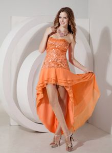 Pretty Orange Red Strapless High-low Semi-formal Prom Dress with Sequin