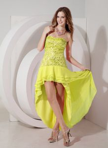 Zipper-up Yellow Sequin High-low Semi-formal Prom Dresses in Columbia