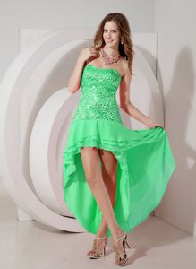 New Arrival Green Sequin Strapless High-low Senior Prom Dress in Elwood