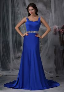 Royal Blue Court Train Prom Gown Dresses with Straps and Beaded Waist