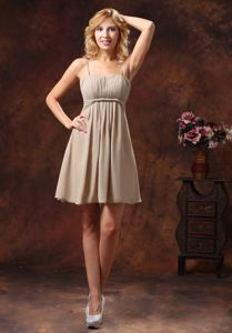 Grey Ruched Mini-length Senior Prom Dress with Spaghetti Straps in Indiana