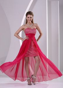 Coral Red Sweetheart Paillette Over Skirt High-low Semi-formal Prom Dress