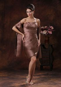 Simple Brown Strapless Mini-length Beaded Senior Prom Dresses with Ruche