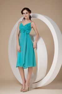 Cute Turquoise Ruched Knee-length Junior Prom Dress with Straps and Bow