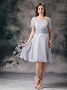 Modest Square Short Sleeves Grey Knee-length Dresses for Prom with Lace