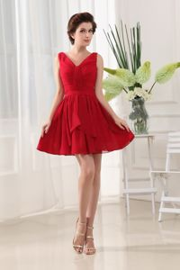Lovely Red V-neck Mini-length Junior Prom Dress with Ruche in Big Rock