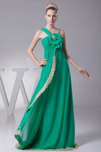 Turquoise Asymmetrical Long Senior Prom Dresses with Flowers and Lace
