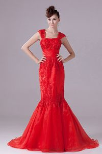 Mermaid Square Red Long Senior Prom Dress with Wide Straps and Sequin