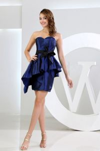 Special Royal Blue Sweetheart Mini-length Dress for Prom with Sash in Boise