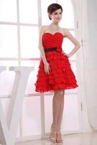 Red Mini-length A-line Layers and Ruches Prom Dress with Sash