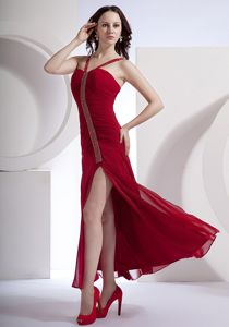 High Slit Ankle-length Red Dresses for Formal with Ruching and Beading