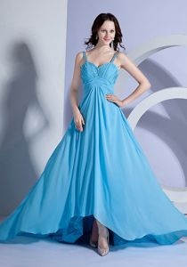 Light Blue Empire Brush Train Prom Dresses with Ruching in Huntington