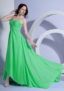 Spaghetti Straps Prom Gown Dress in Green with Brush Train and Ruching
