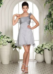 Organza One Shoulder Short Grey Prom Outfits with Flowers in Dodd City