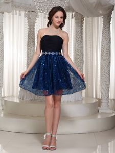 Strapless Short Prom Dresses in Black and Blue with Beading and Sequins