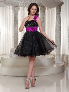 Beaded Black Short Puffy Dress for Prom with Sash and Criss-cross Back