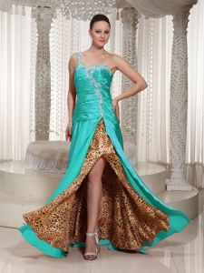 One Shoulder High Slit Turquoise Prom Dress with Appliques and Beading
