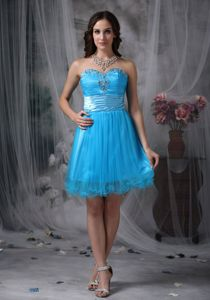 Sweetheart Mini-length Dresses for Prom in Teal with Beading and Ruching