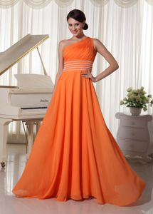 Chiffon One Shoulder Floor-length Orange Prom Gown Dress with Ruches