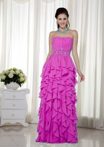 Strapless Floor-length Hot Pink Prom Gown Dress with Ruches and Ruffles