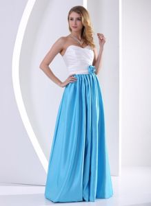 White and Aqua Blue Sweetheart Prom Attires in Floor-length with Ruches