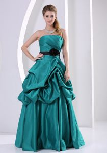 Turquoise A-line Floor-length Prom Gown Dress with Ruches and Ruffles