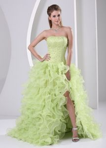 Ruffled Strapless Yellow Green Prom Gown Dress in Floor-length with Slit