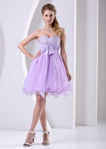 Lilac Sweetheart Beaded Mini-length Prom Attires with Bowknot in Hondo
