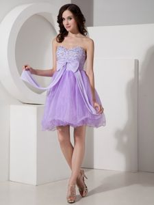 Nice Sweetheart Mini-length Lilac Prom Dress with Beading and Bowknot