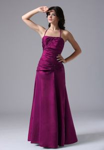 Halter Top Floor-length Prom Attires in Fuchsia with Ruching in Grapeland