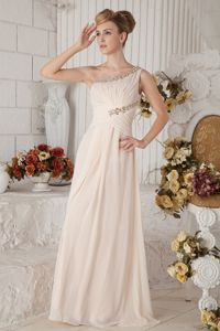 One Shoulder Floor-length Champagne Prom Dress with Ruches and Beading