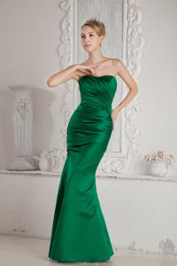 Elegant Dark Green Mermaid Strapless Ruches Prom Dress in Hamilton