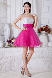 Hot Pink and White Sweetheart Prom Gown in Tauranga with Beading