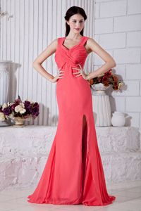 Watermelon Red Straps Ruches Prom Dress in Dunedin with Brush Train