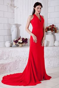 Red Empire Halter Chiffon Prom Dresses in Addo with Brush Train