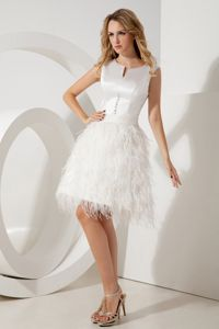 Mini-length Feather White A-line Scoop Beading Prom Gown in Alice