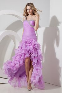 Lavender One Shoulder High-low Beaded Senior Prom Gowns in Bellville