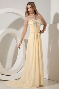 Light Yellow Beading Empire Scoop Junior Prom Dresses in Belmont