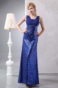 Blue Column Straps Style with Sequin over Dress for Prom in Ankle-length